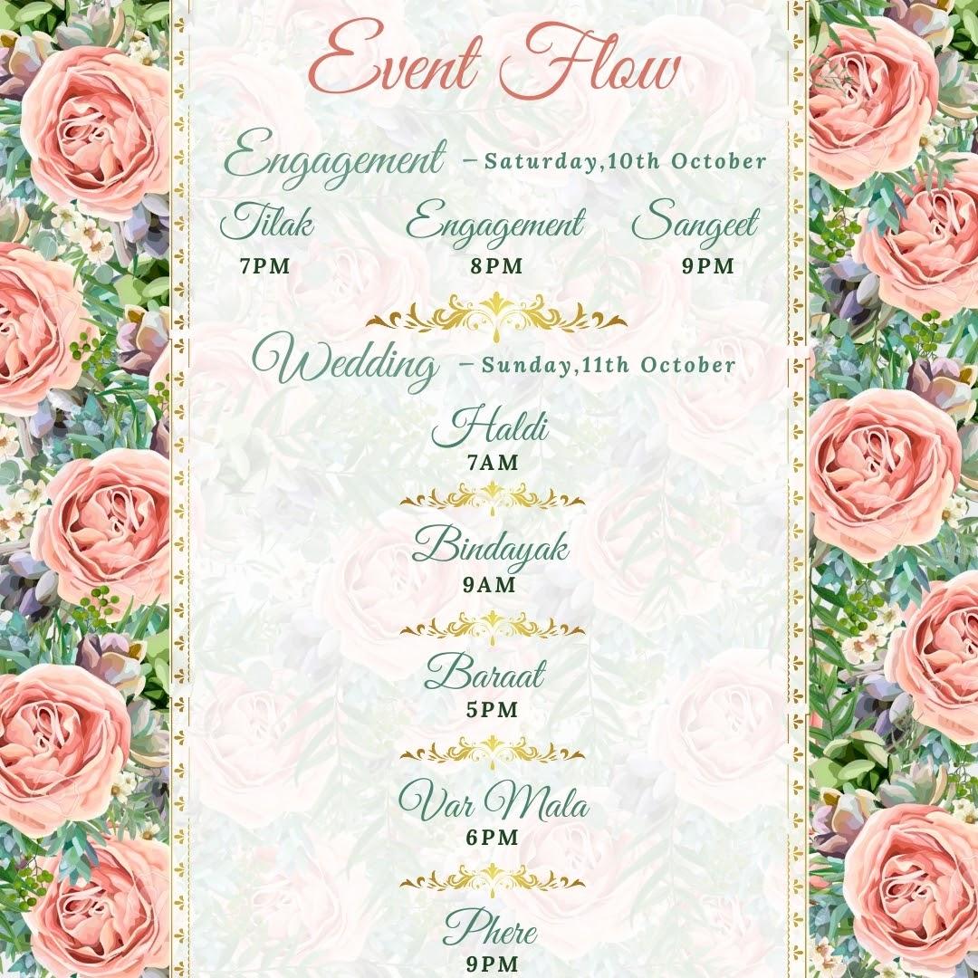 pink rose theme wedding invite