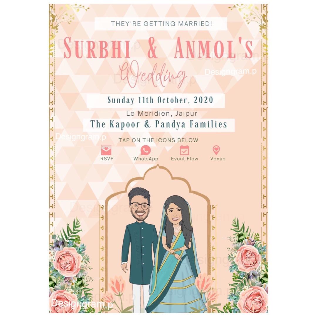 couple caricature wedding invite
