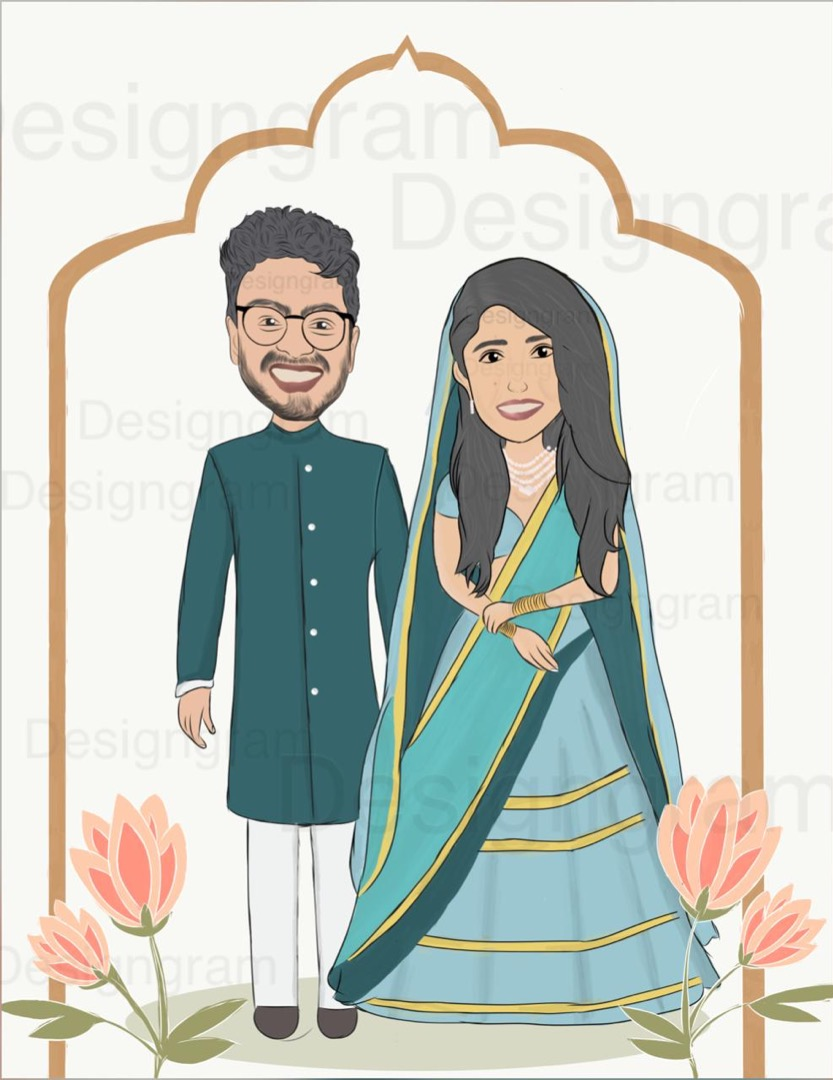 cute couple caricature in traditional clothes