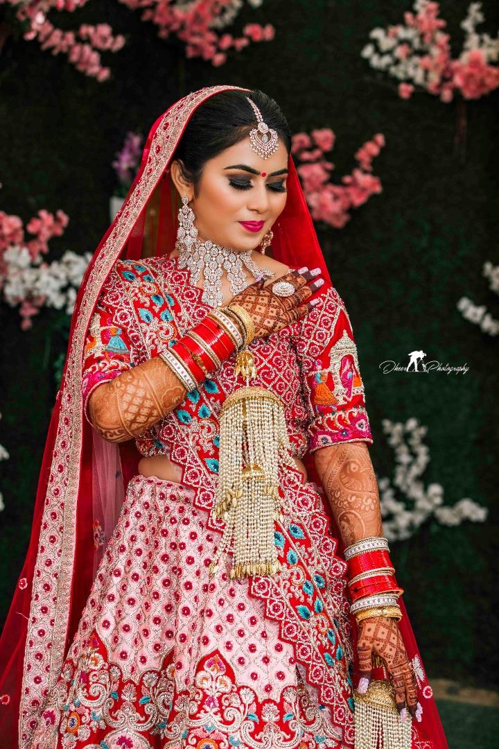 bride in a contemporary lehenga