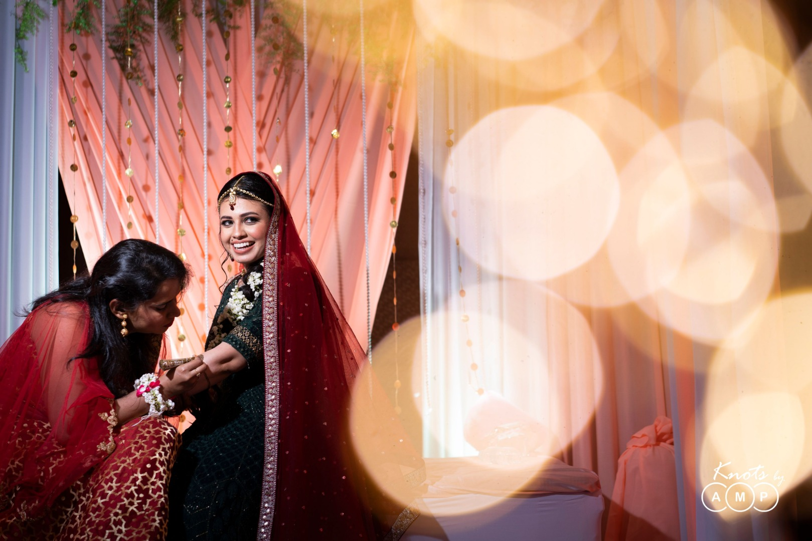 Candid Picture of Bride in Mehendi Ceremony