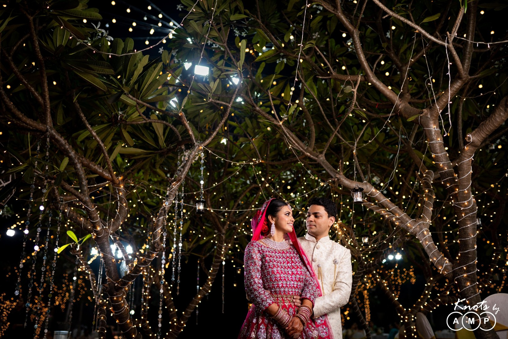 Fairy Lights Decor & Happy Couple Posing