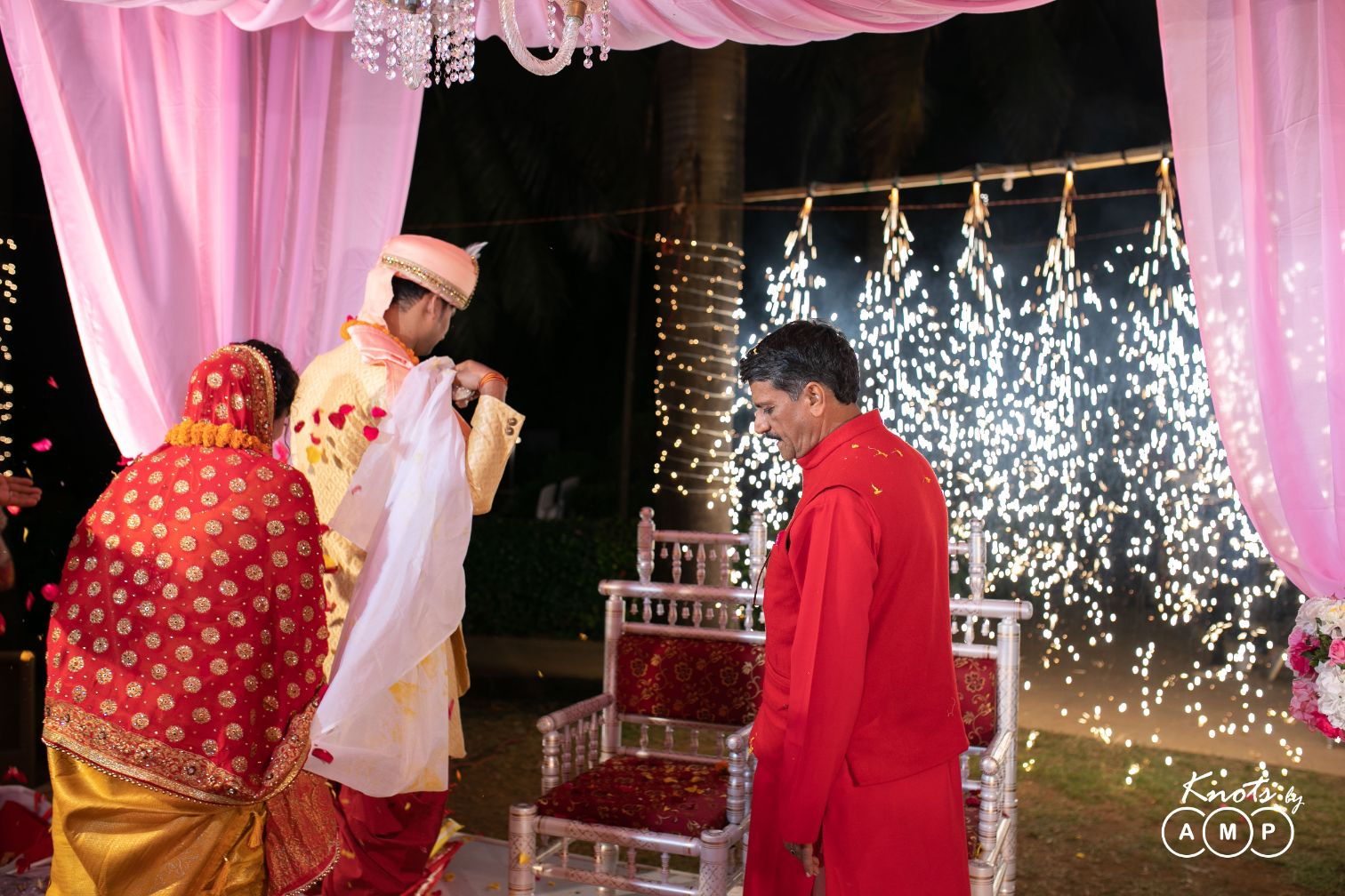 Bride & Groom Pheras Picture with Fireworks