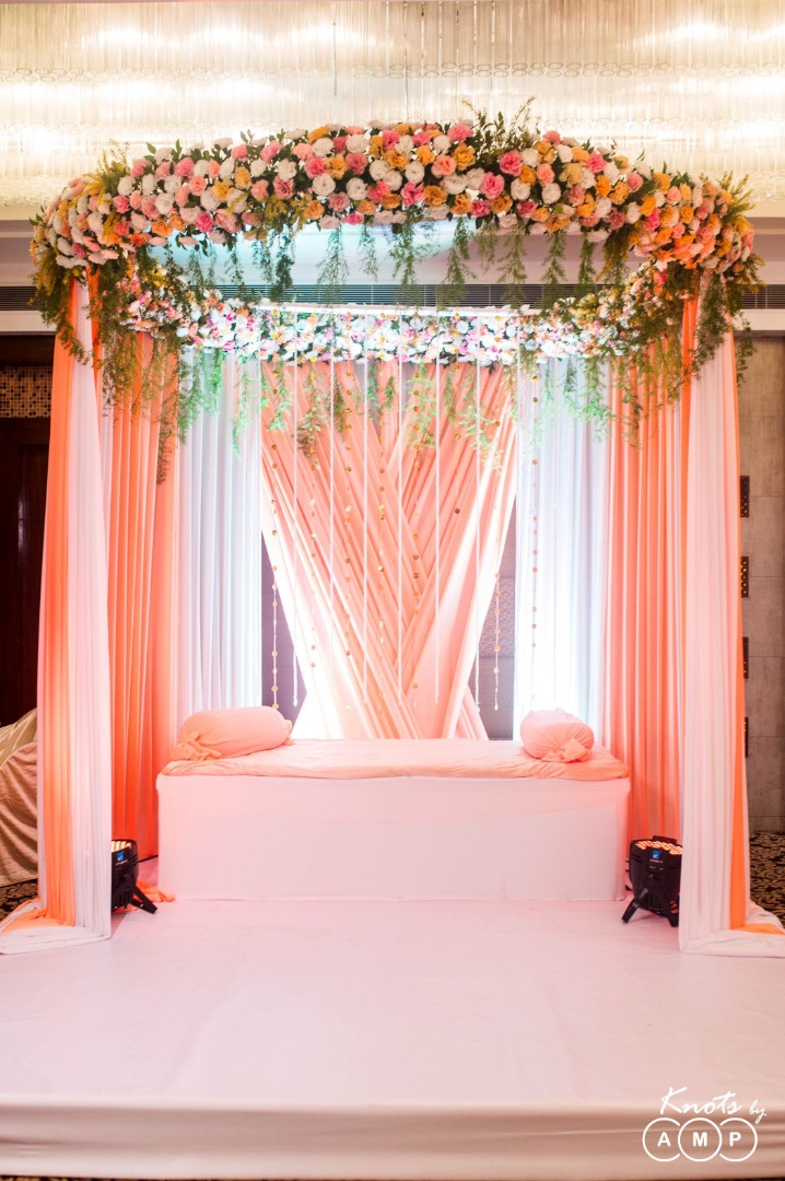 Pastel Peach Theme Drapes and Floral Seating Setup