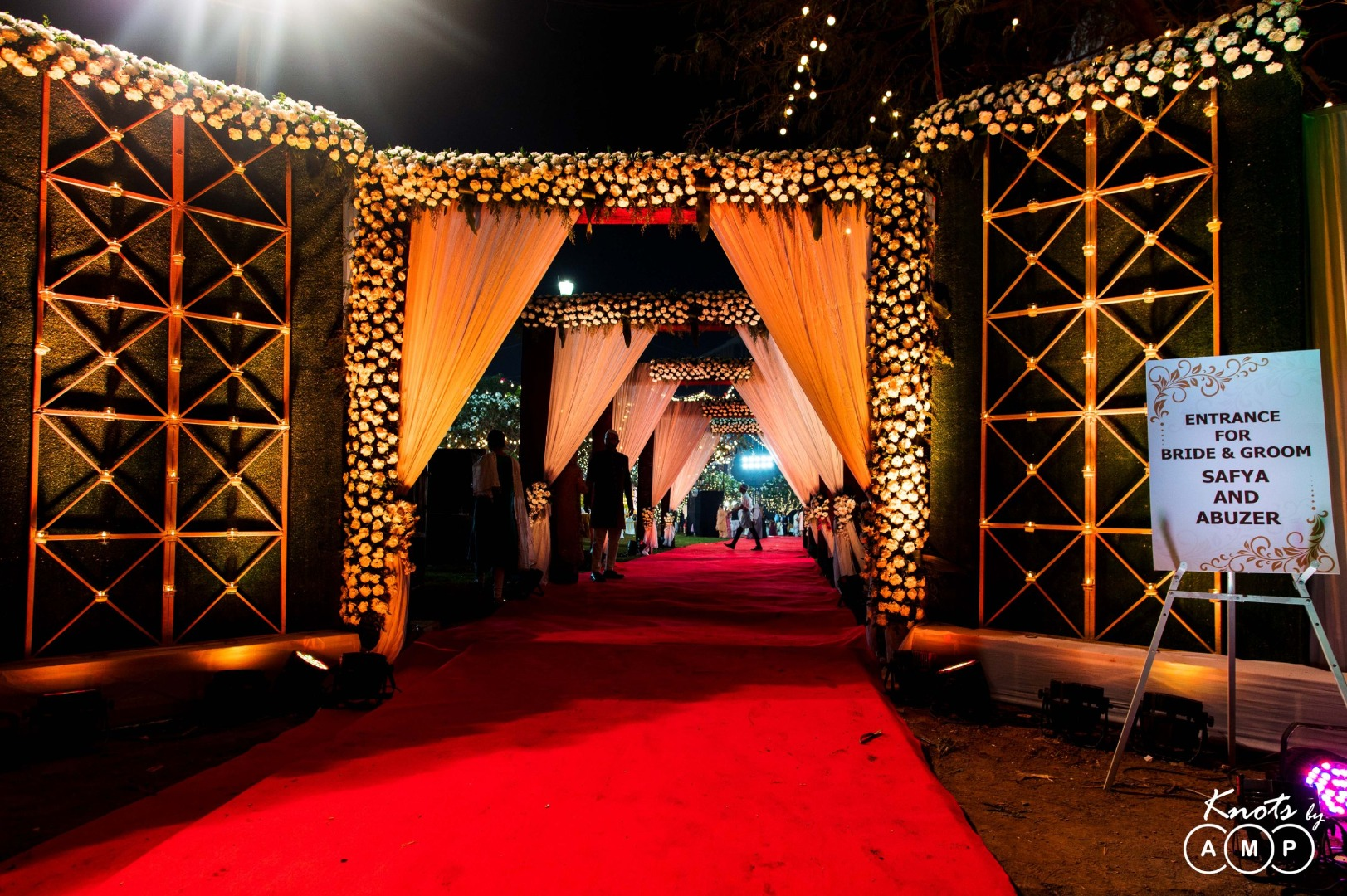Floral Entrance Decor and Yellow LED Lights