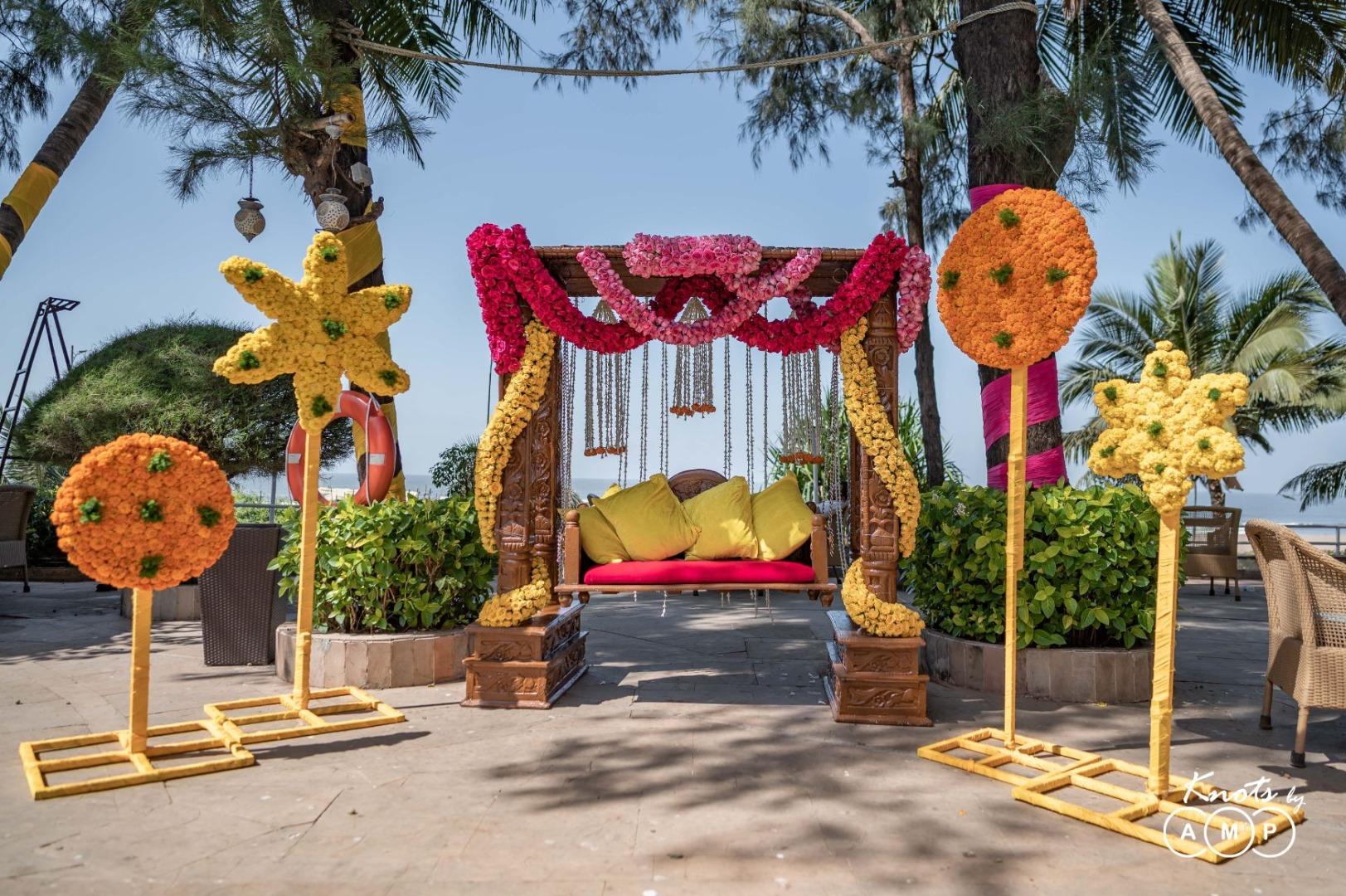 Marigold & Roses Haldi Ceremony Couple Seating Swing Decor