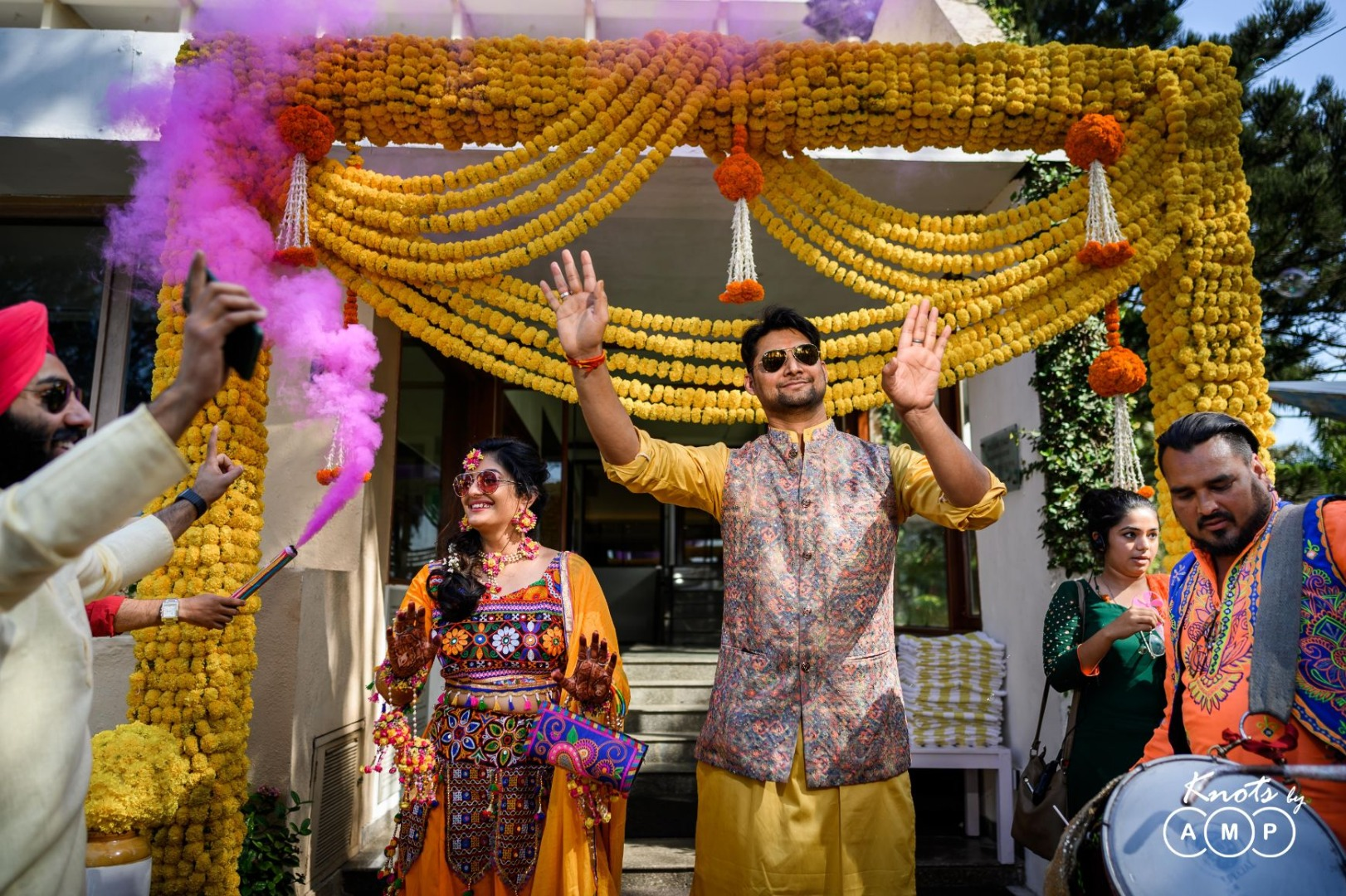 Bride Groom Dancing at Haldi Ceremony and all Marigold Decor