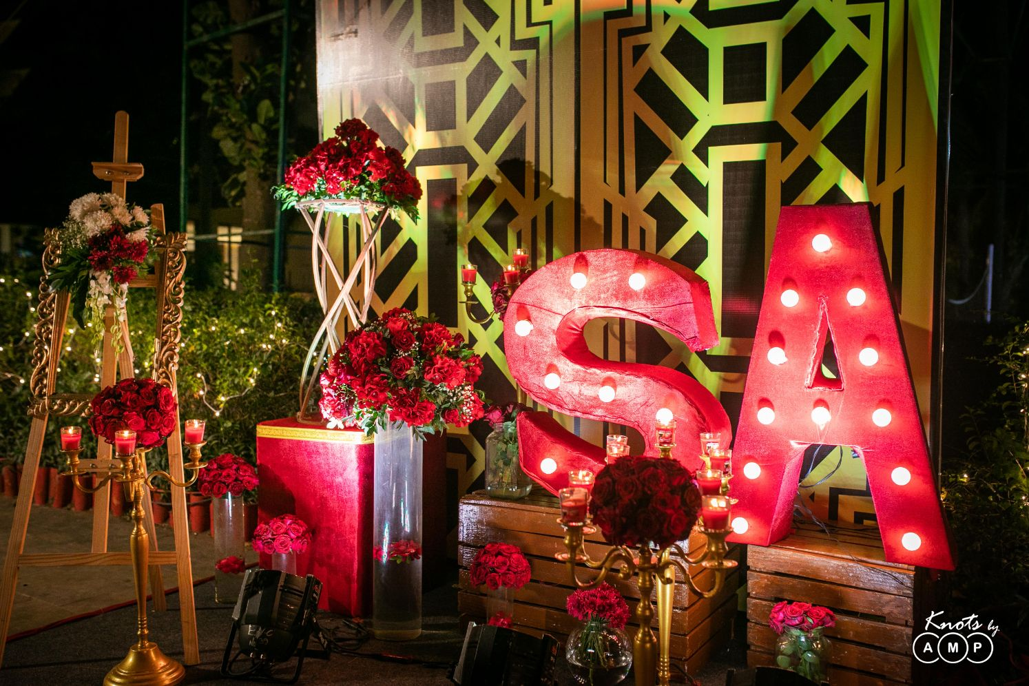 Red Roses Decor with Couple's Initials LED Lit Signage