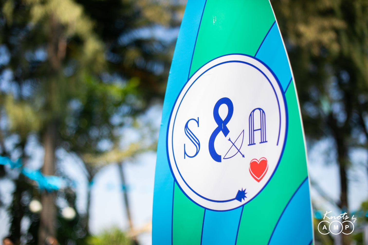 Quirky Pool Party Signage with Couple Initials