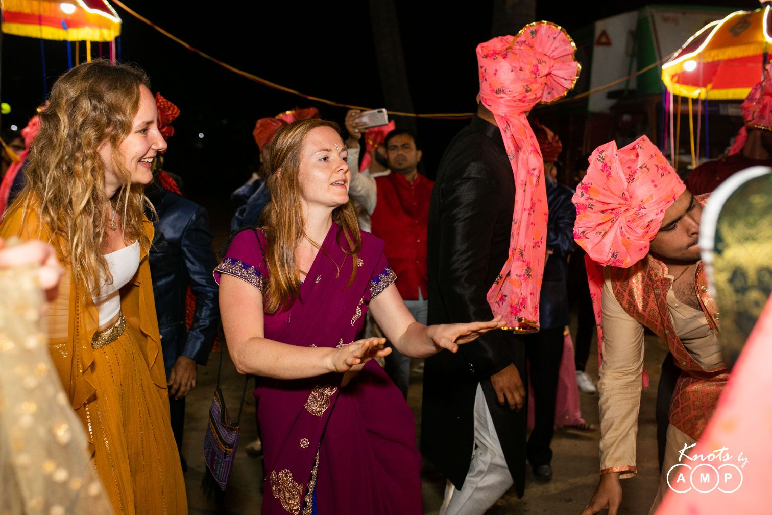 Foreign Guests in Indian Attire Dancing in Baraat