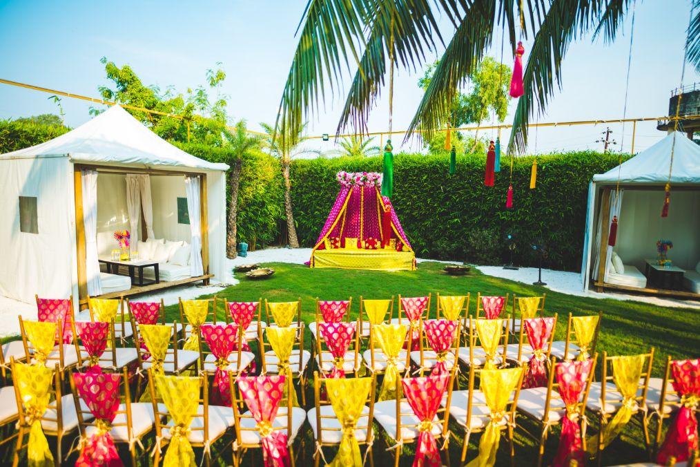 Colorful Mehendi Ceremony Setup