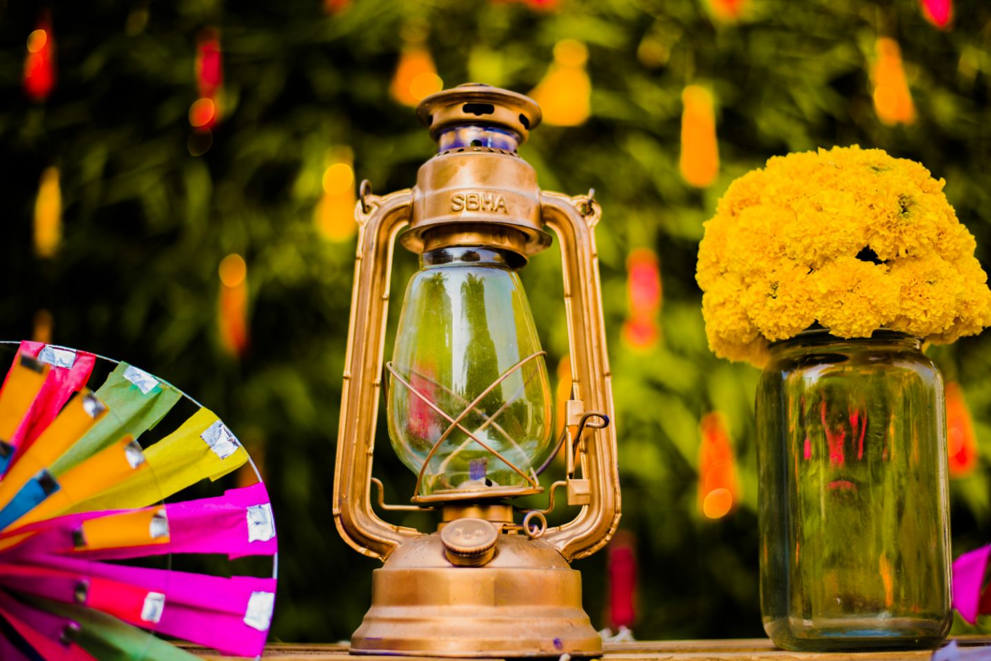 Pinwheels Marigold Jars and Lanterns Mehendi Decor Idea