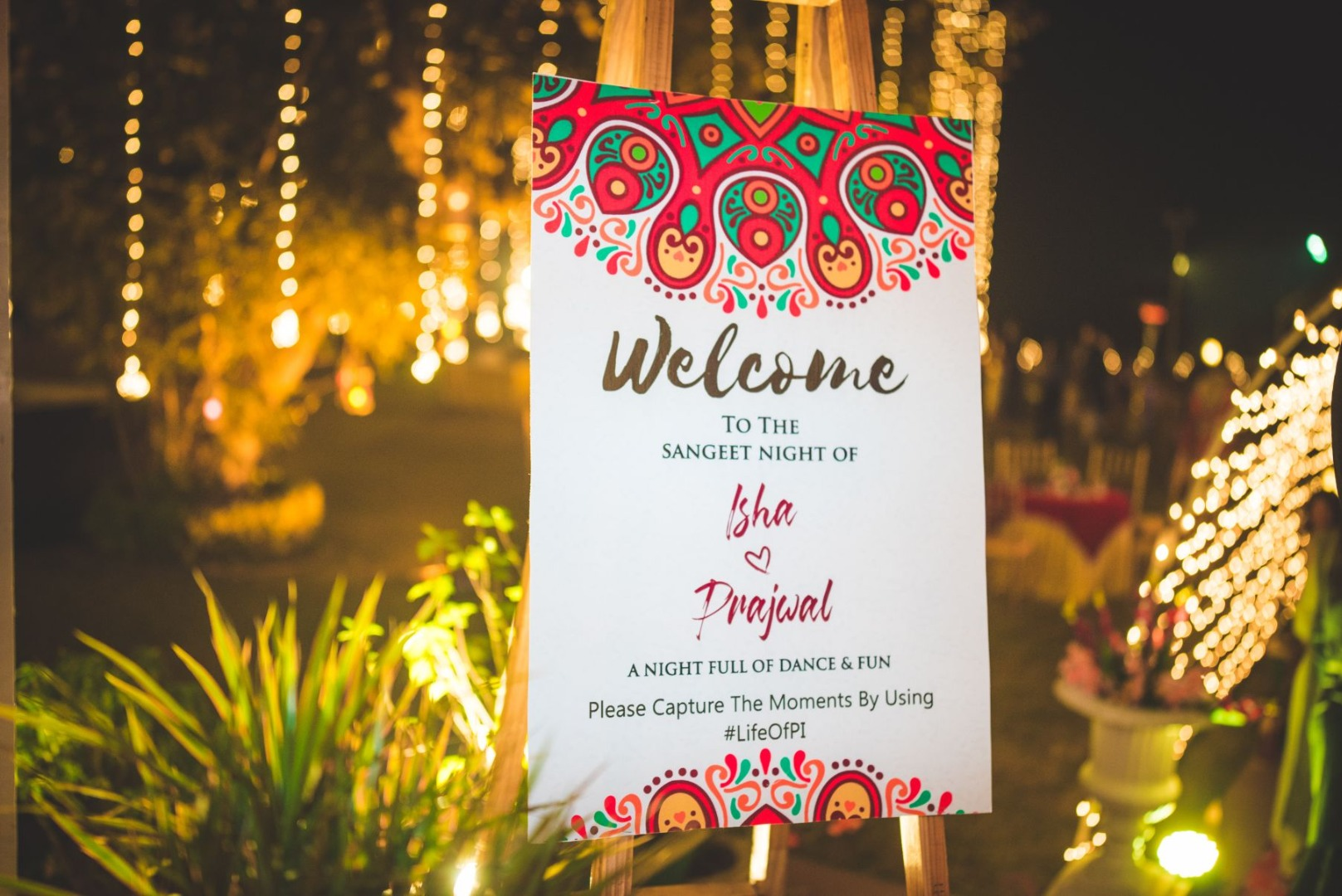 Sangeet Night Welcome Signage and Fairy Light Decor