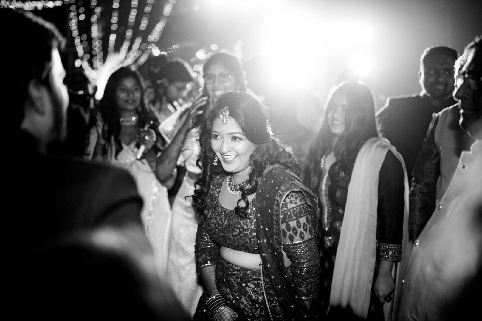 Black & White Picture of Bride Dancing