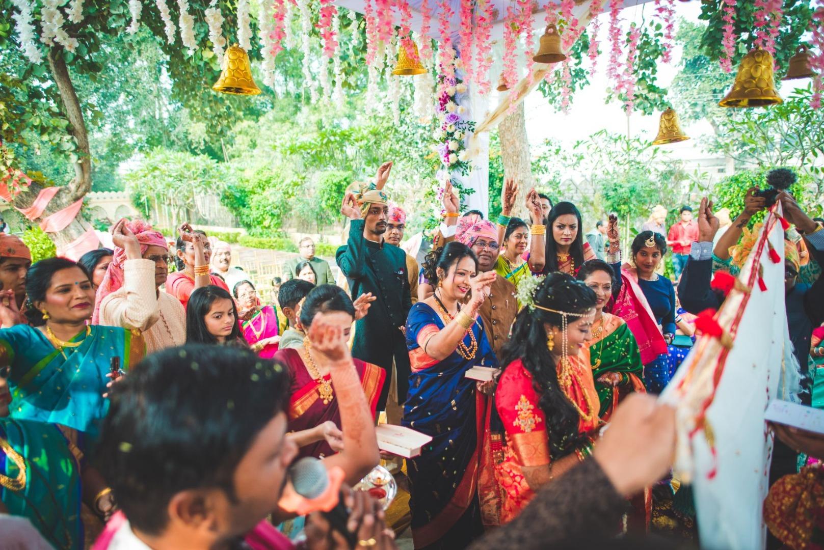 Bride Groom and Families During Maharashtrian Wedding Rituals