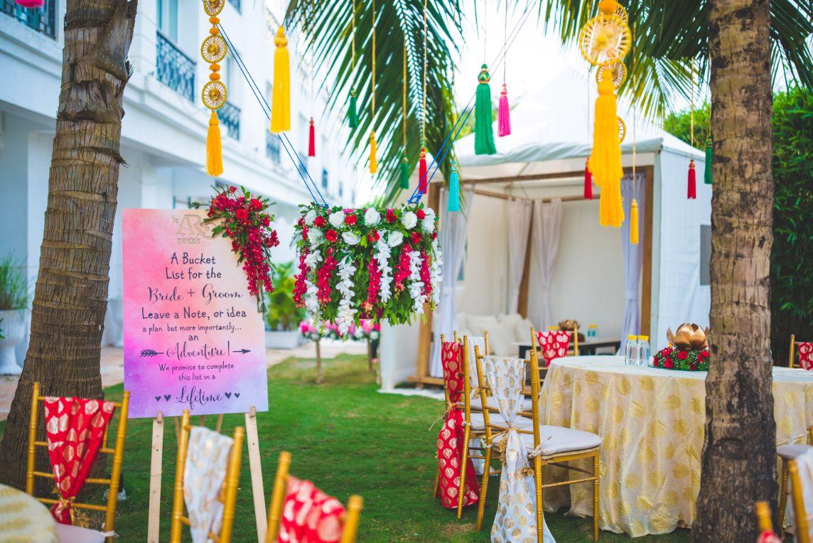 Flower Decorated Wedding Signage and Seating Setup