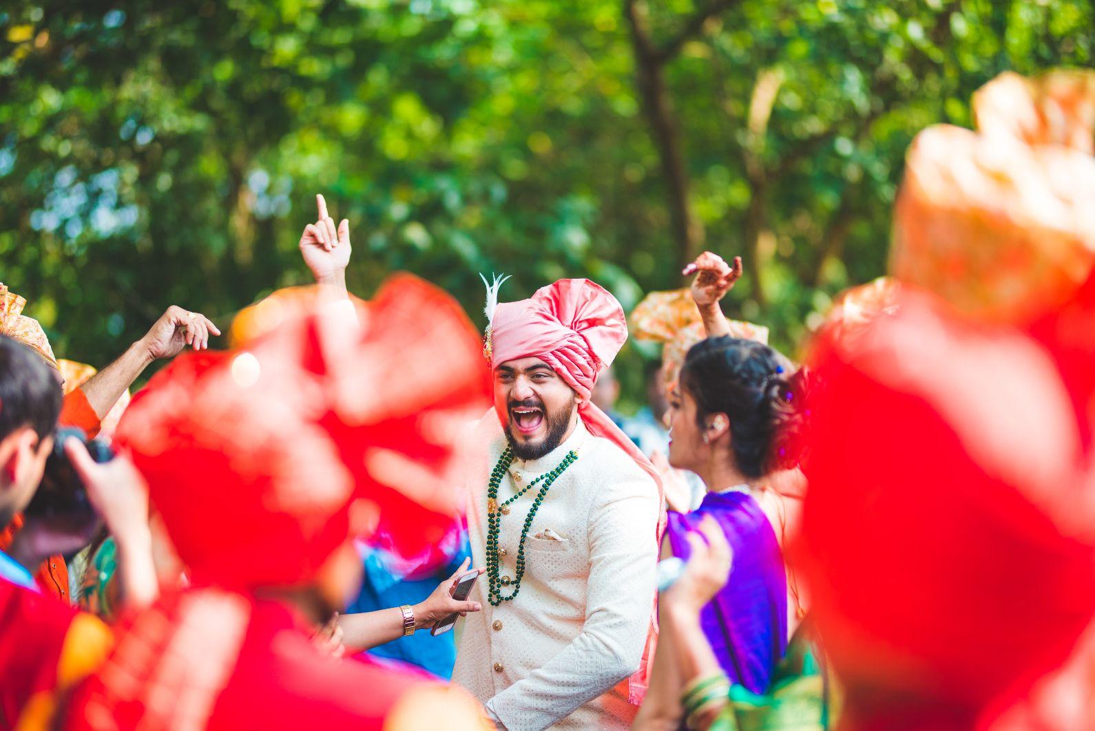 Indian Groom Dancing in Baraat