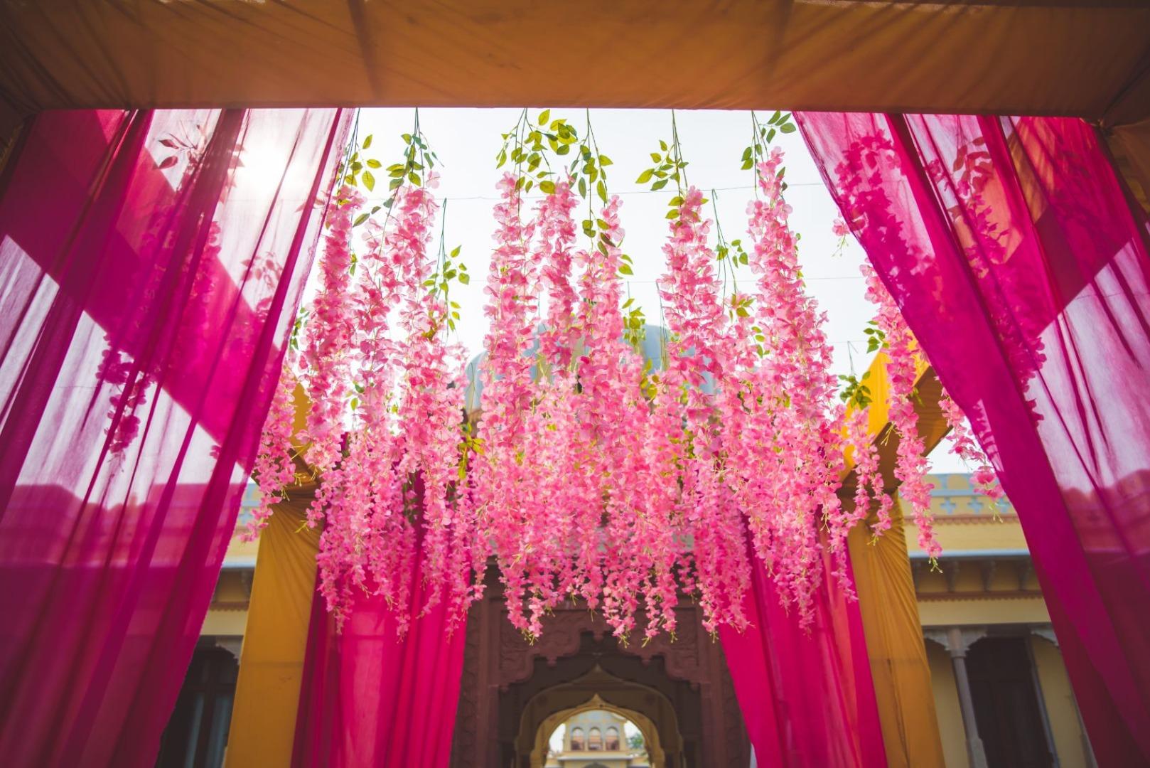 Pink Drapes and Floral Mandap Decor