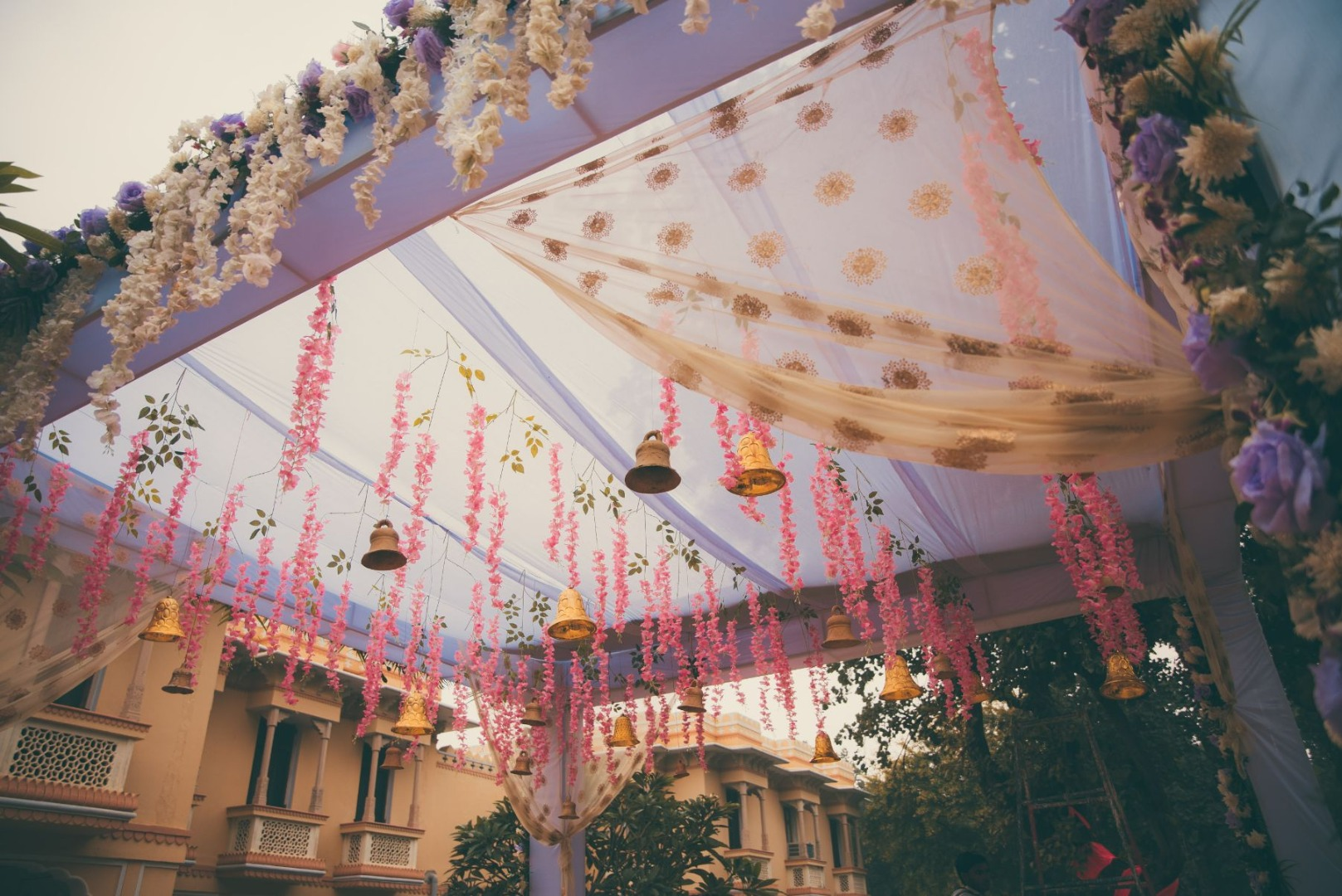 Mandap Ceiling Decor with Flower Strings and Bells