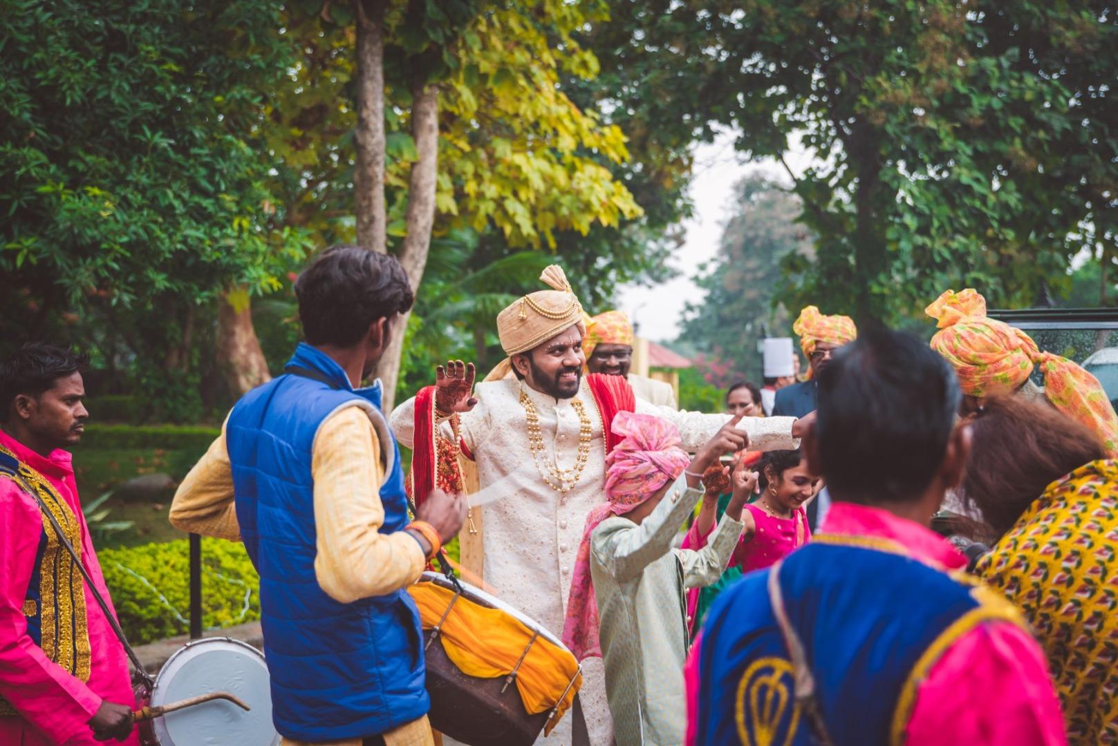 Dancing Indian Groom in Baraat