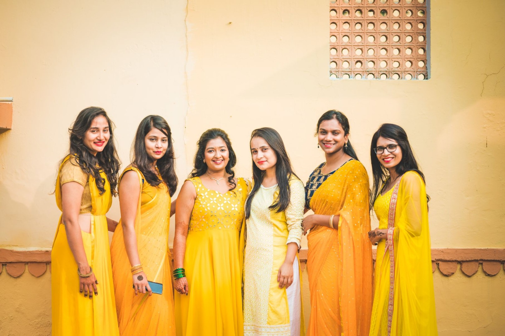 Bridesmaids in Yellow Theme Outfits for Haldi Ceremony