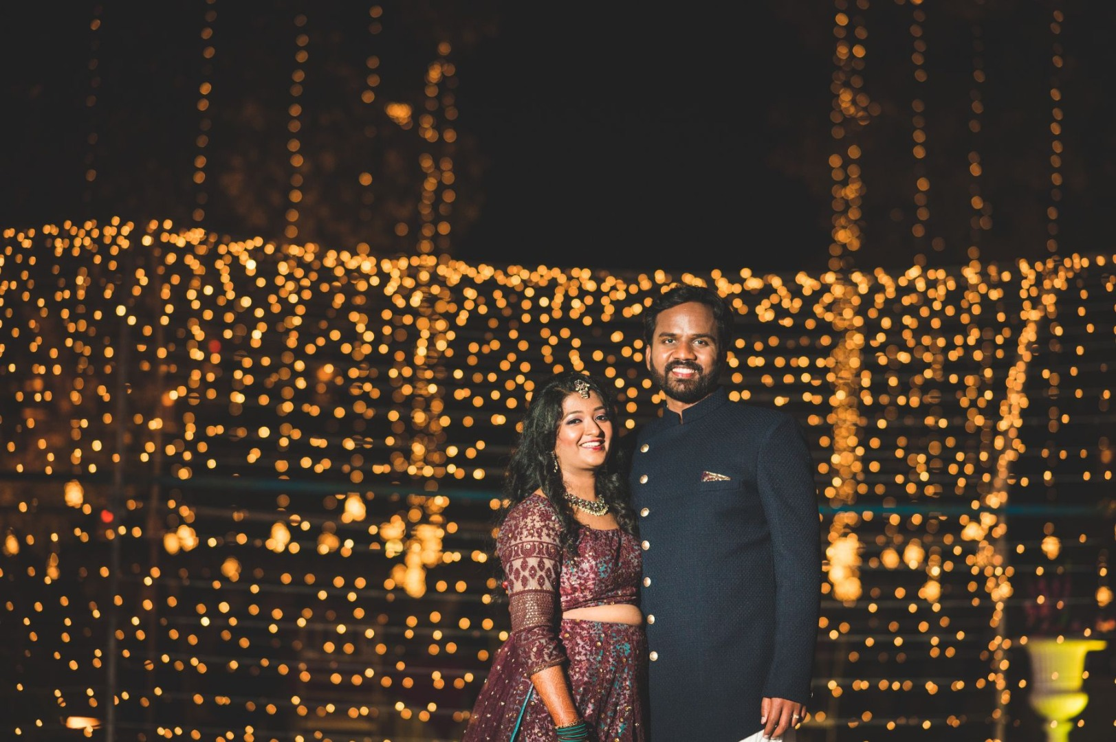 Bride & Groom Picture and Dreamy Fairy Light Decor for Sangeet Ceremony