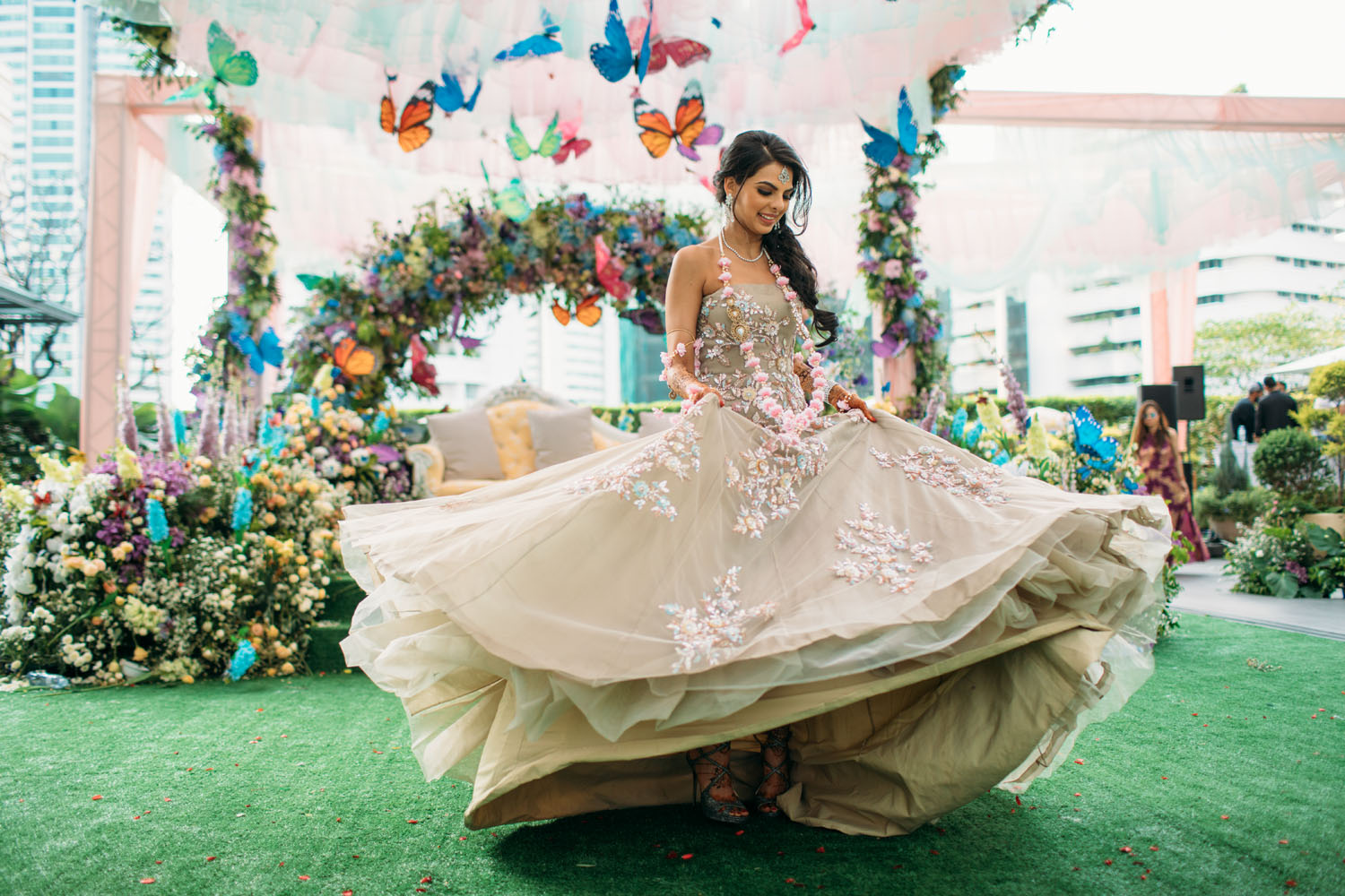 Butterfly Theme Decor & a Twirling Bride