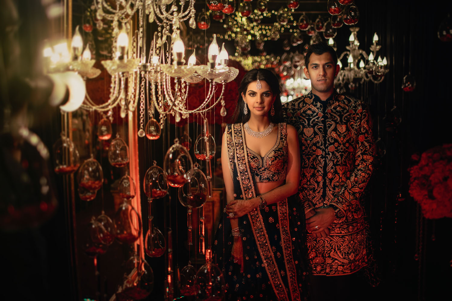 Couple Portrait Picture with Grand Crystal Shamiyana & Tea Lights Decor