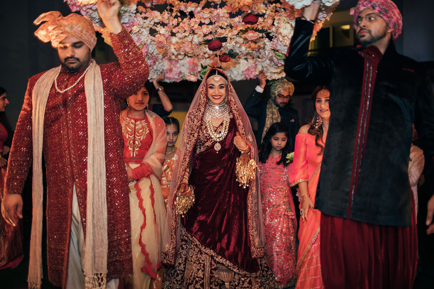 Bridal Entry in Red Outfit Under Phoolon Ki Chaadar