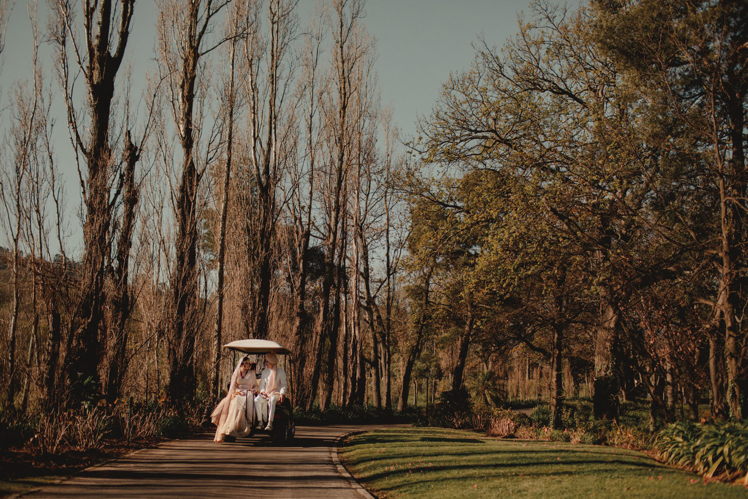Couple Post Wedding See Off in a Cart Fairy Tale Wedding Picture