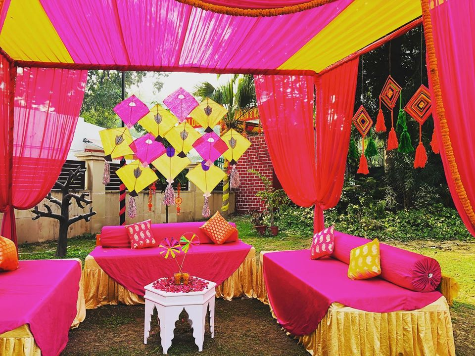 yellow pink kite drape decoration idea