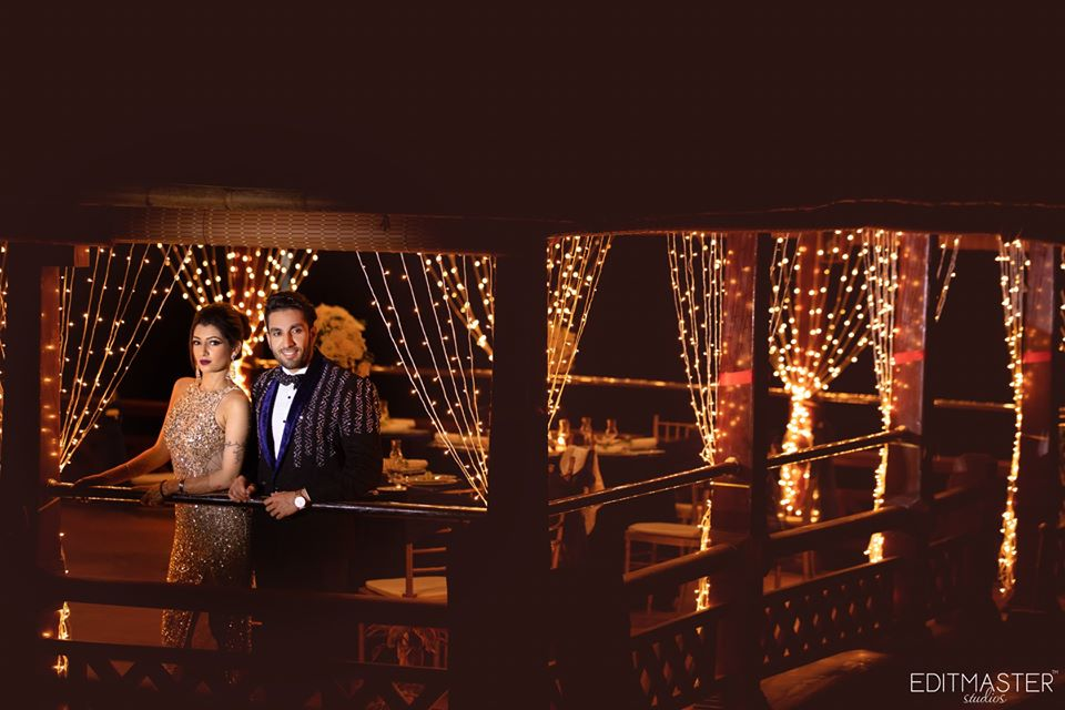 Couple Pre Wedding Photoshoot in Stylish Outfits in a Fairy Light Decorated Villa