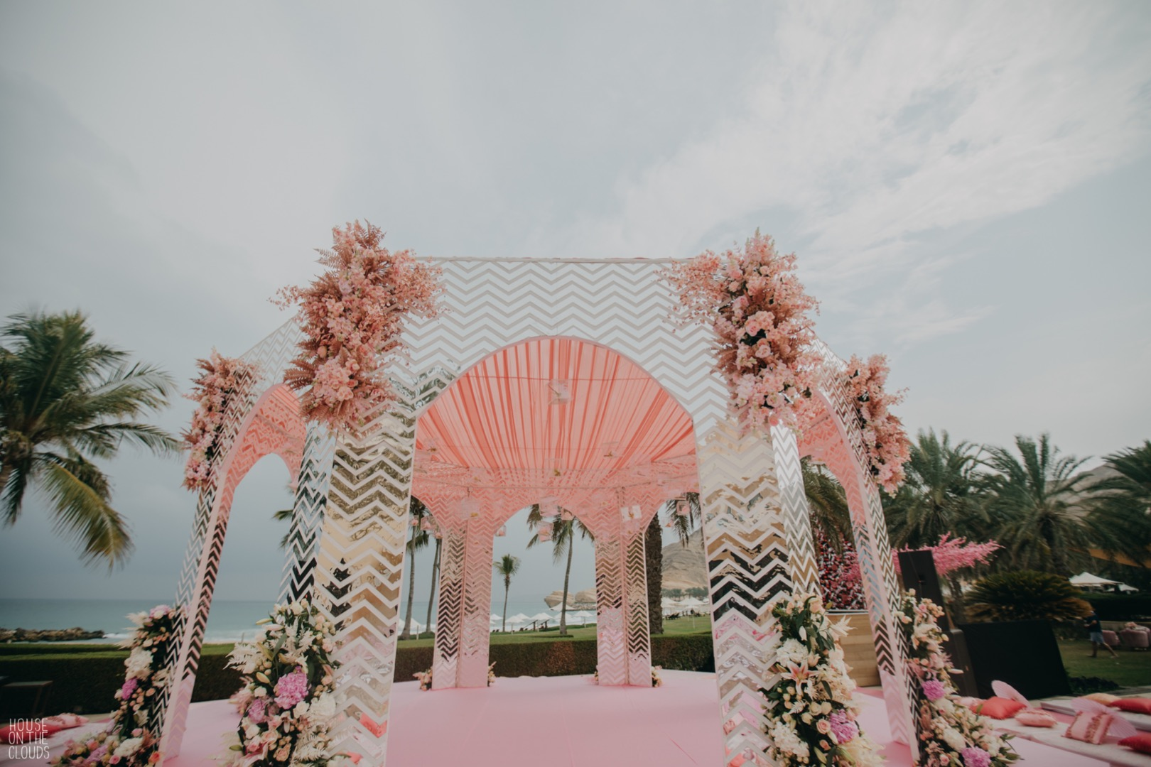 pastel pink mandap decor