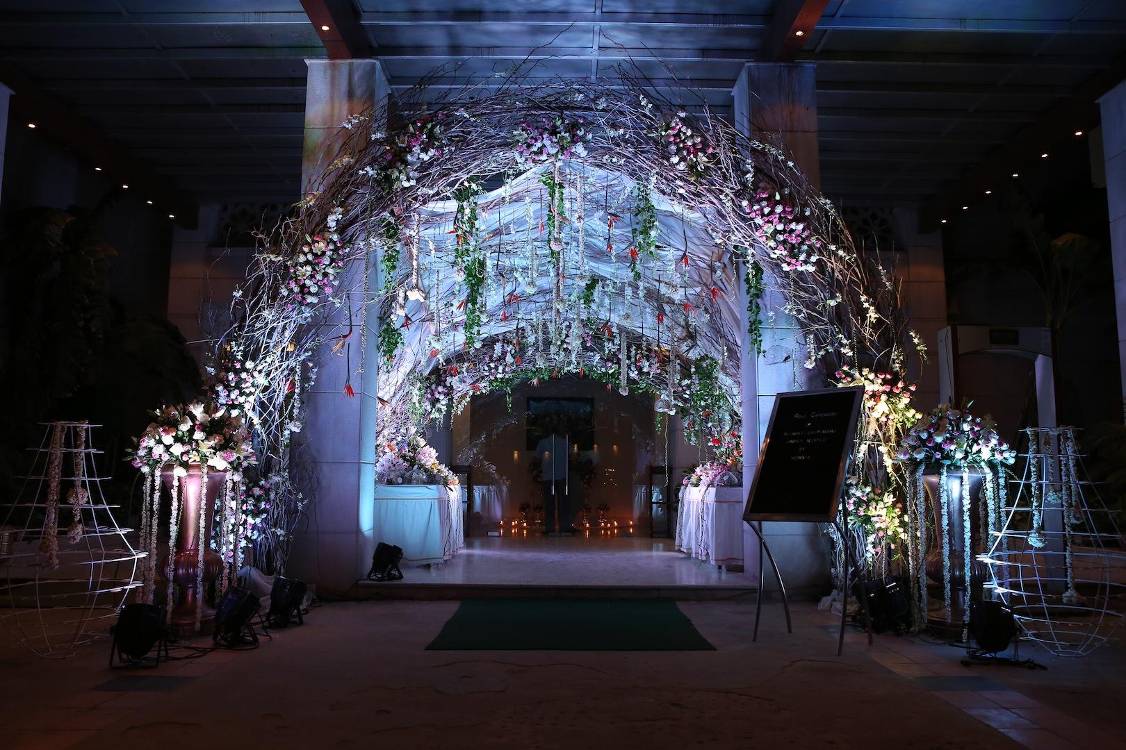 entrance hanging flower decoration