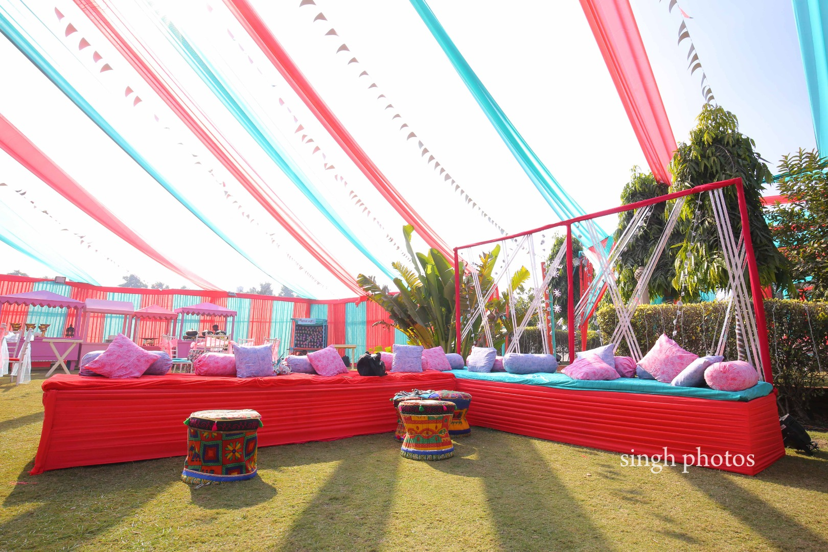 Pink and Blue Themed Mehendi Decor