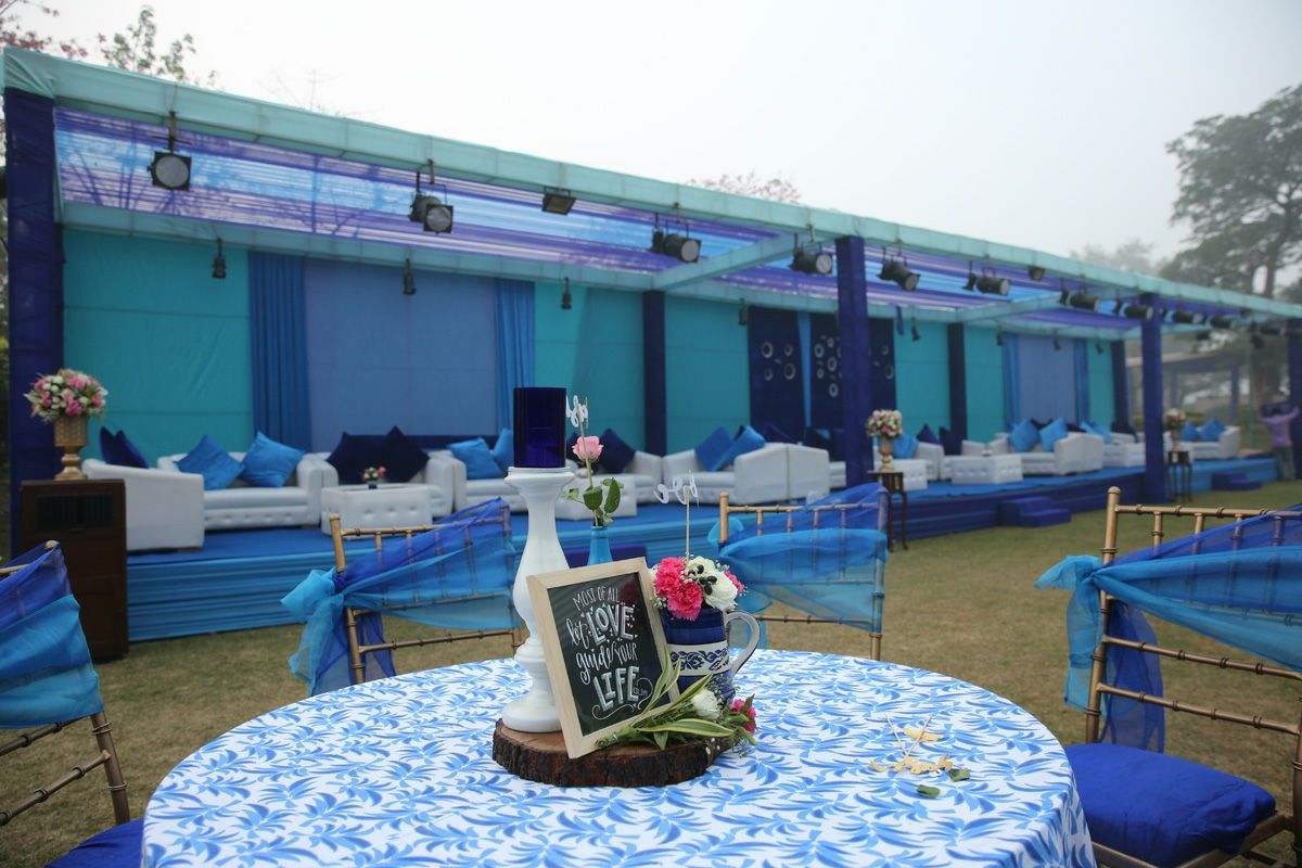 Blue and White Themed Wedding Function Decoration