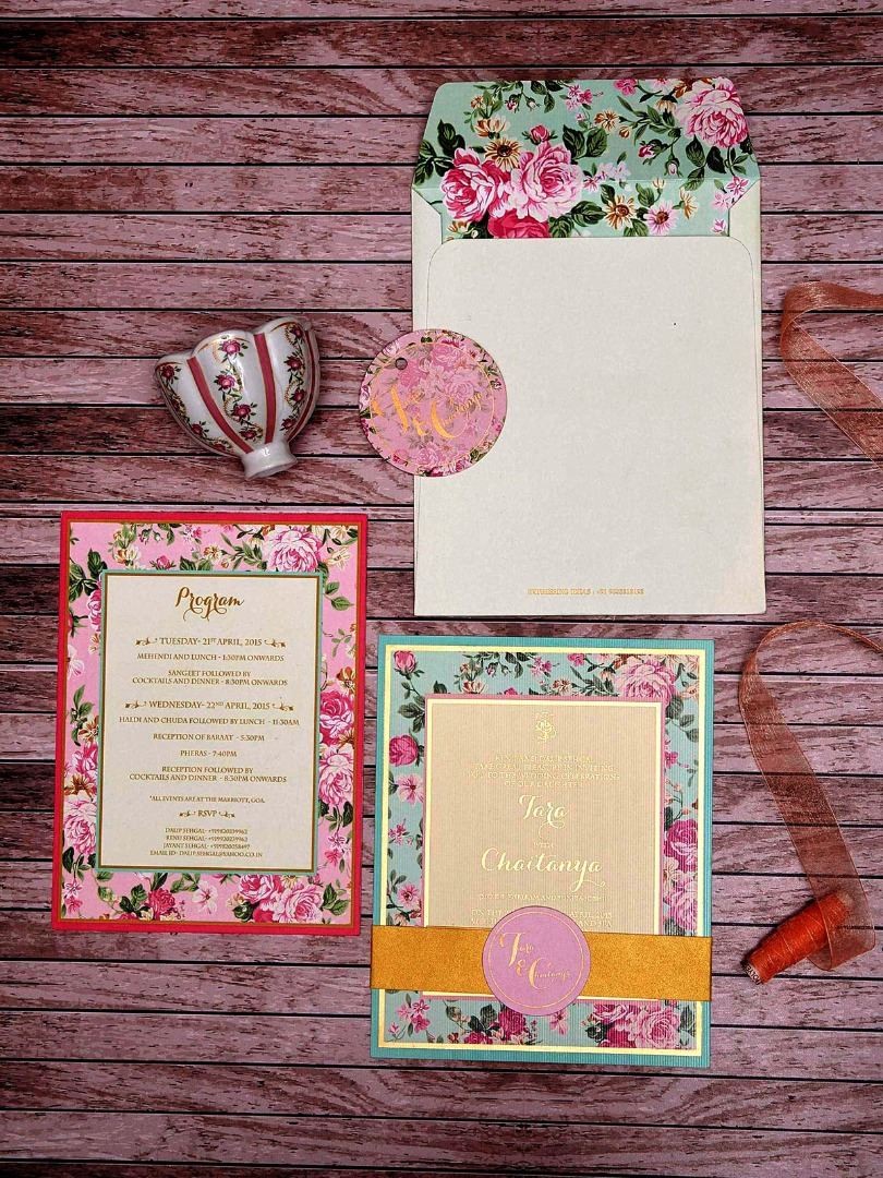 Colorful Floral Wedding Invitation Card Design