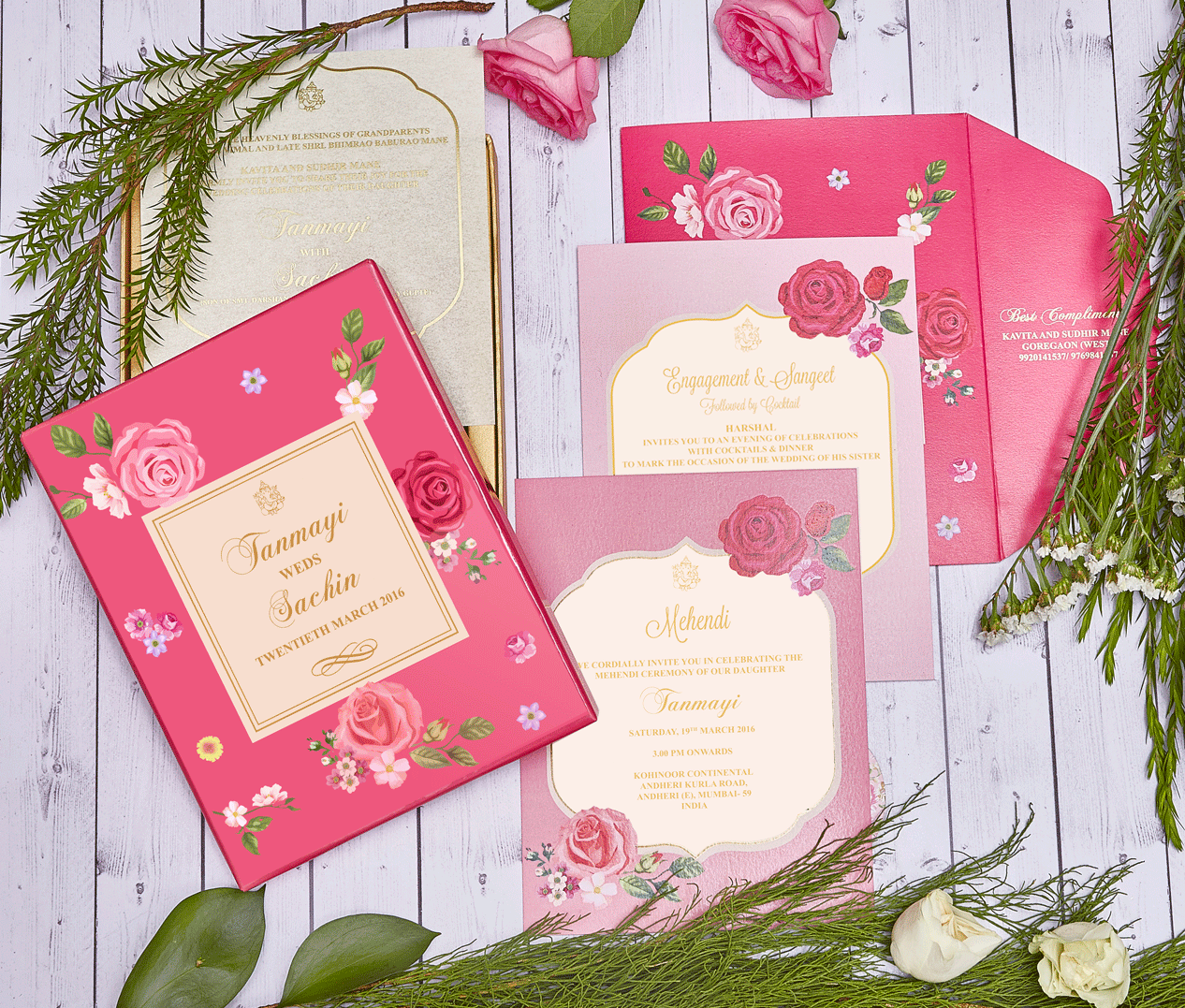 Bright Pink & Pastel Purple Floral Wedding Invitation Card