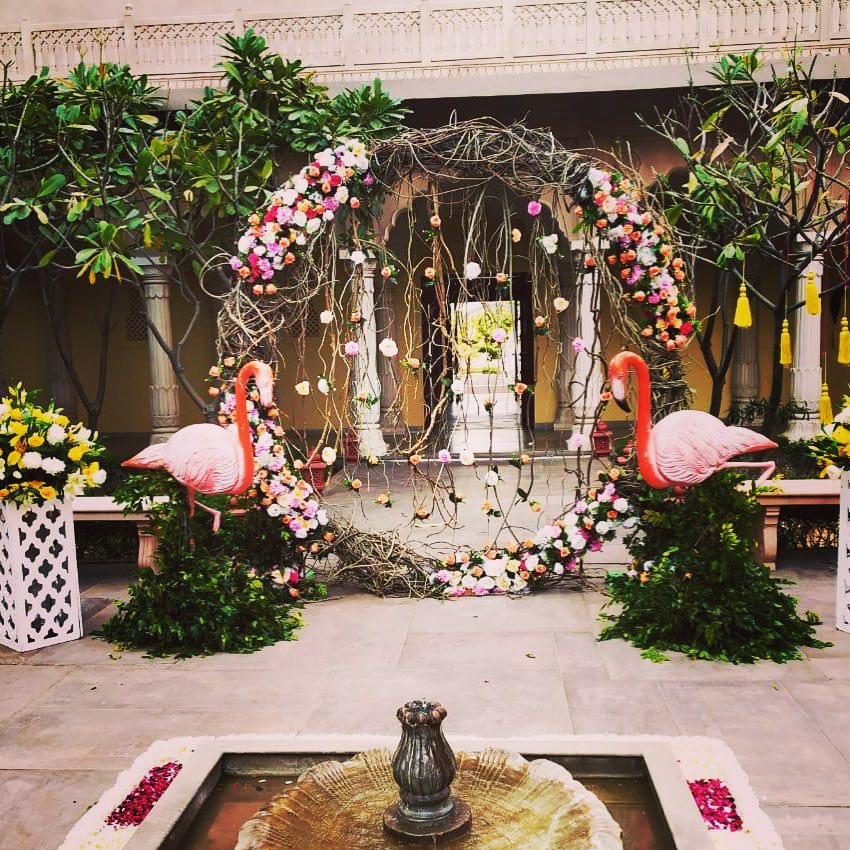 Flamingo Theme Floral Arch Wedding Entrance Decor
