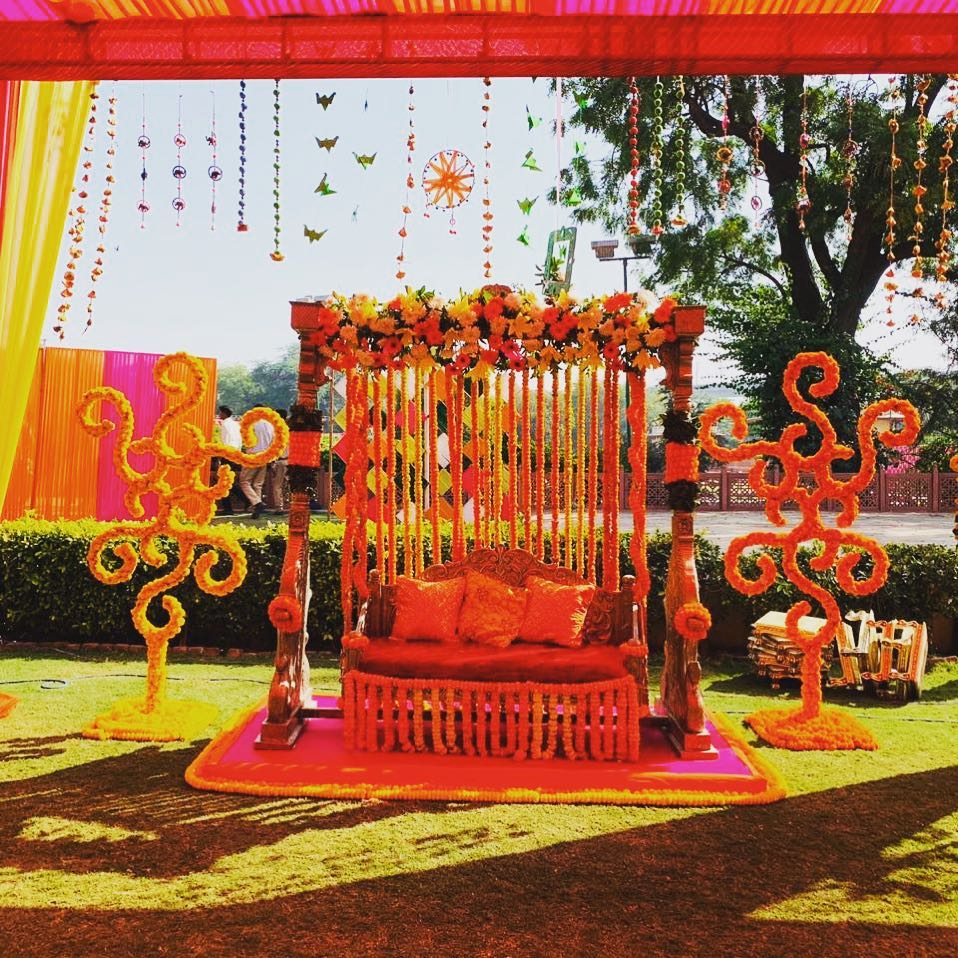Marigold Decorated Couple Seating Decor