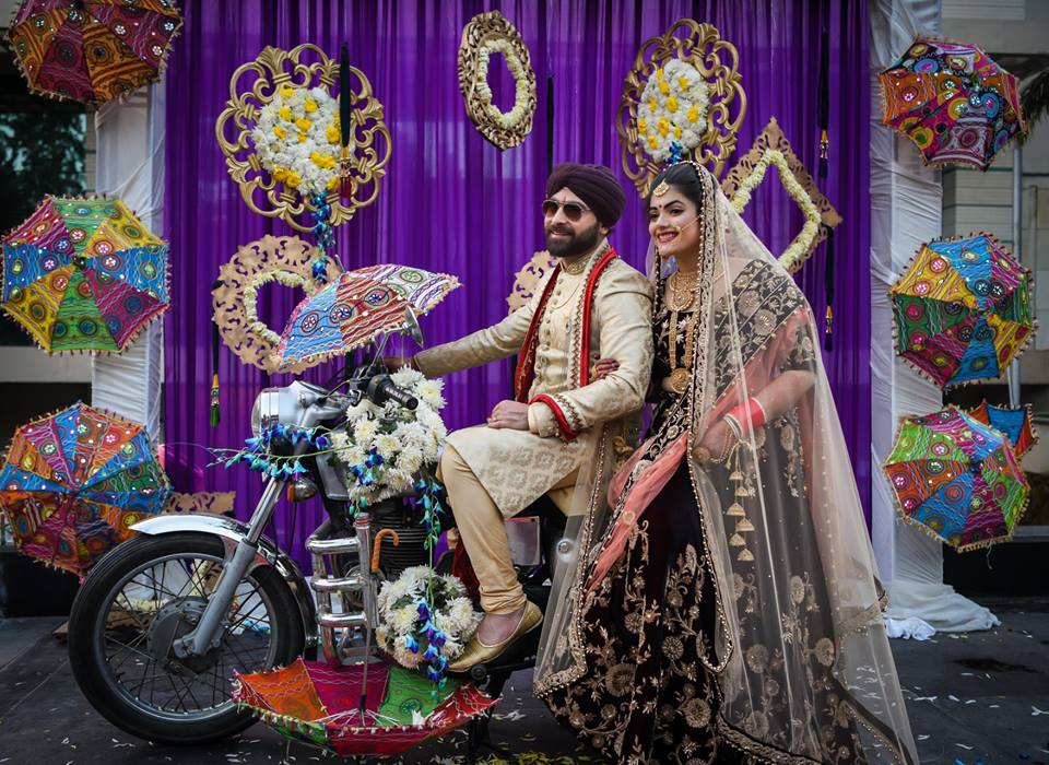 Sikh Couple Wedding Photography Poses on Bike
