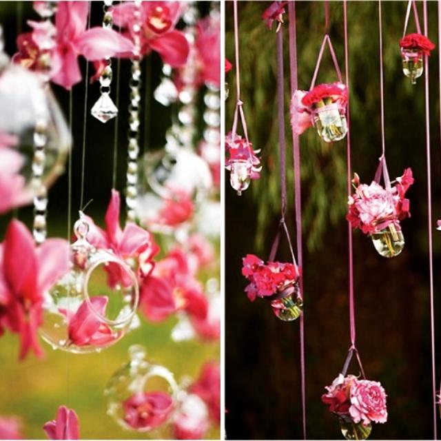 pink hanging flower decoration idea