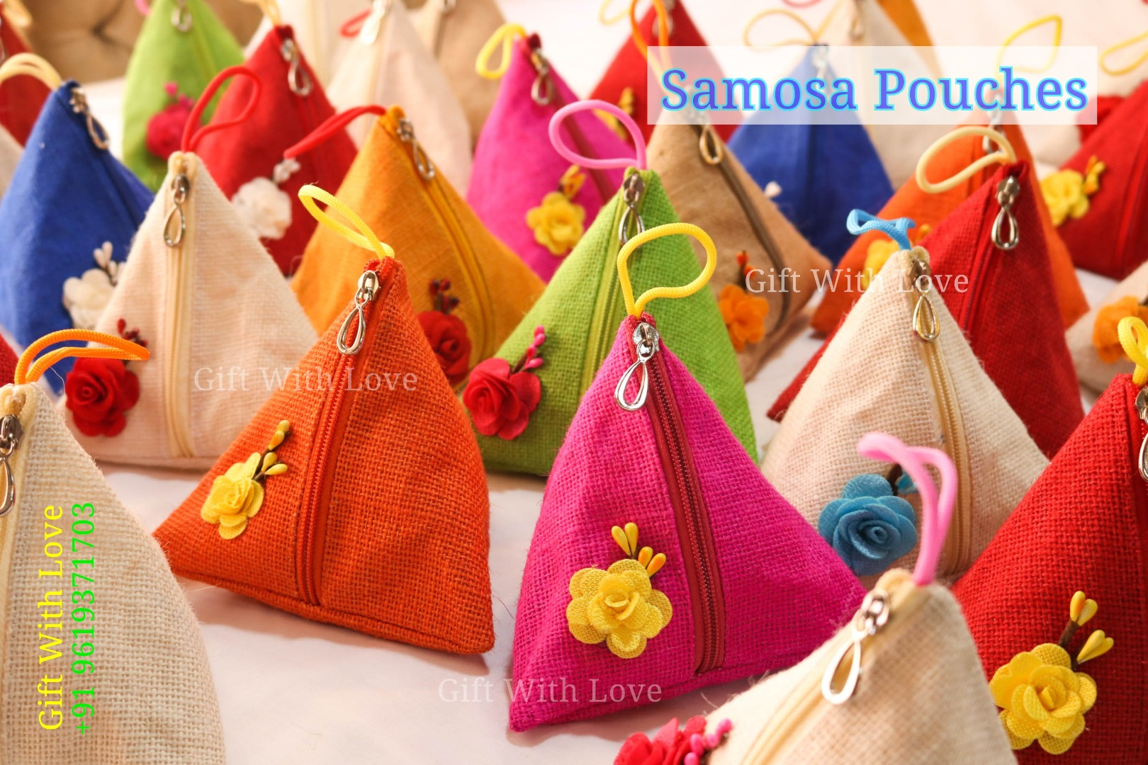 colourful samosa pouches as wedding favors
