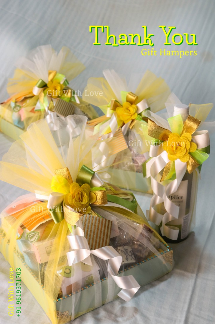 yellow themed gift hampers