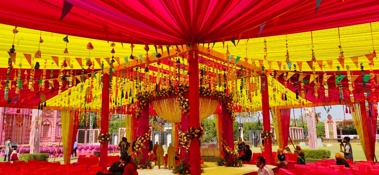 pink and yellow wedding decor