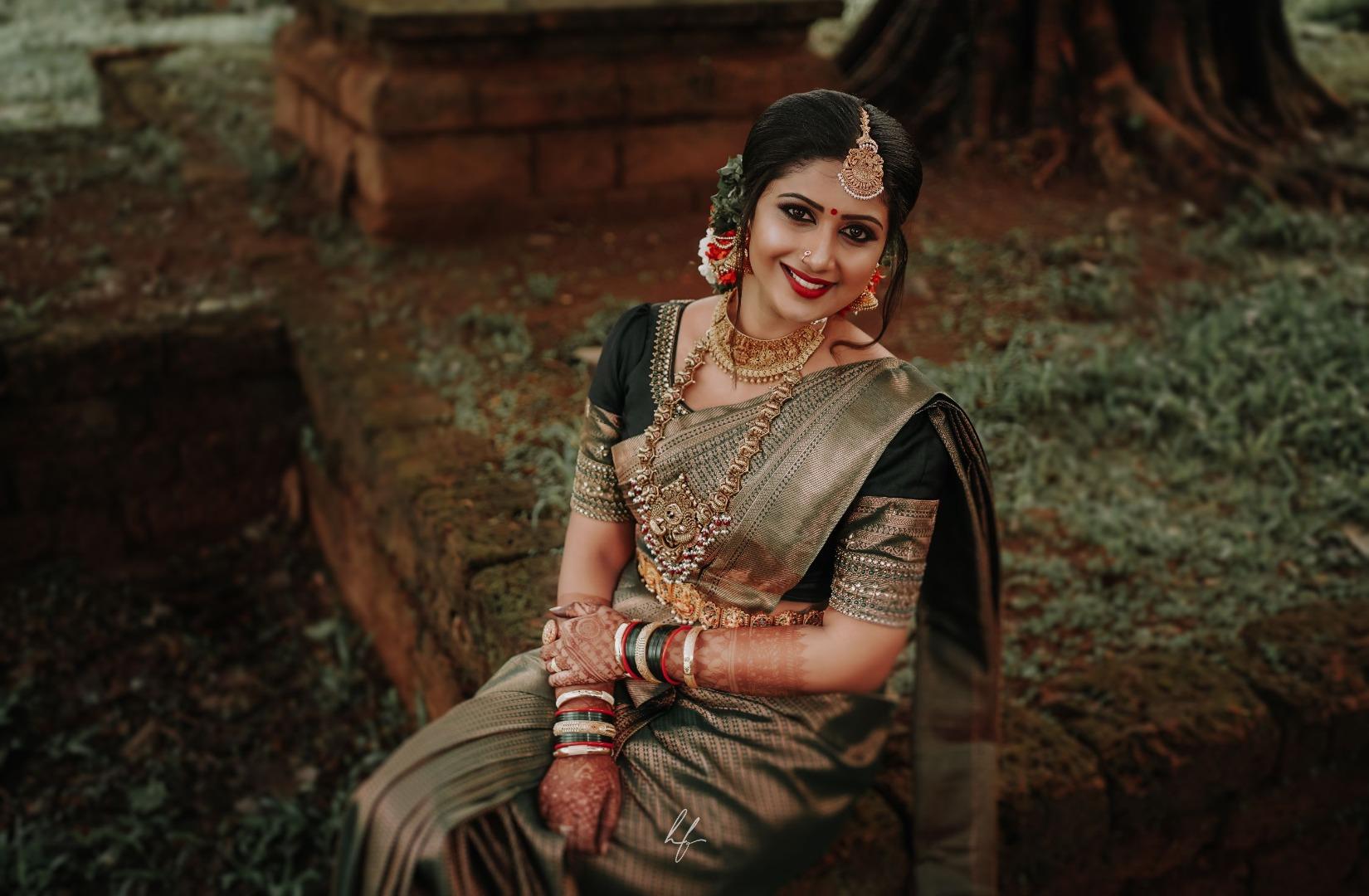 beautiful bride in green silk saree