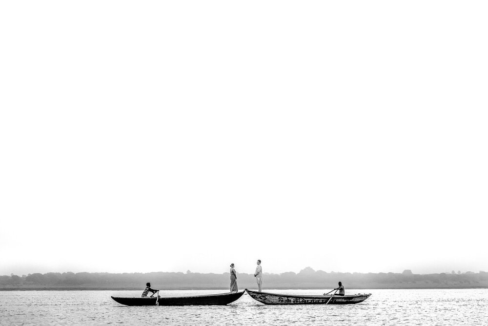Black & White Pre Wedding Picture of Bride & Groom on Boats