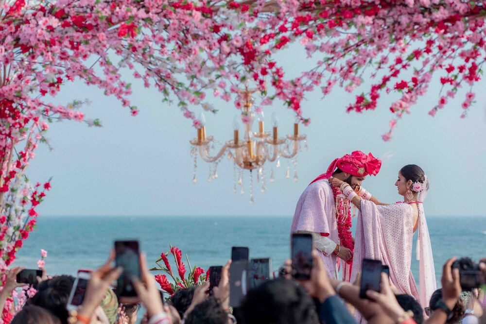 Seaside Pink Theme Indian Wedding Varmala Ceremony Picture