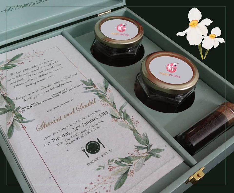 Botanical Theme Green & White Boxed Invitation