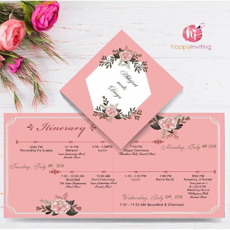 Pink & White Itinerary Invitation Card